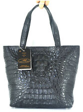 100% BIG HORNBACK GENUINE CROCODILE LEATHER HANDBAG BAG TOTE BLACK NEW