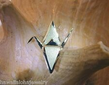 24mm Hawaiian 14k Green Gold Sadako Peace Crane Wing Down Satin Origami Pendant