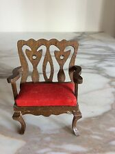 Doll House Miniature 1:12 Red upholstered Armchair