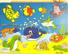 OCEAN ANIMALS 9pc Magnetic Fishing Wood Peg Puzzle 11.5x9 Educational Toy