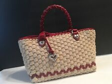 Brighton Tan Basket Weave With Red Genuine Leather Trim Purse Tote Shoulder Bag