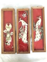 VINTAGE SET OF 3 WOOD FRAMED PEACOCK BIRDS HANGING WALL ART PLAQUES SHELLS BOHO
