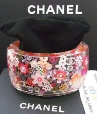 REDUCED 2016 CHANEL Pink Iridescent Flowers Pearl 4 Crystal CC Cuff Bracelet NWT