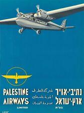 Tel Aviv Israel Palestine Airways Vintage Airline Travel Advertisement Poster