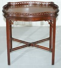 MAHOGANY CHINESE CHIPPENDALE SILVER TEA OCCASIONAL TABLE FRET WORK CARVED FAMBOO