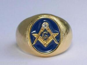 Vermeil Sterling Silver Blue Enamel Clear Crystal Mason Masonic Men Ring Sz 8-14