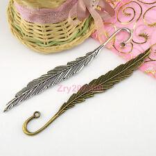 2Pcs Tibetan Silver,Bronze Feather Charm Pendants Bookmark 12x115mm M1691