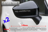 AUDI QUATTRO outline VINYL SYMBOL MIRROR DECALS STICKERS x2 default SILVER