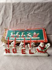 vtg-CHRISTMAS NOEL SANTA SLEIGH REINDEER CANDLE HOLDER RELCO JAPAN-box, candles