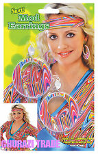 Damen Swirl Mod Ohrringe sechziger siebziger Jahren-Schmuck Halloween Kostüm Zubehör
