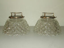 Antique Pair 1878 Glass Crystal Oil Lamp Chimney Shades with Trim Fitter Rings