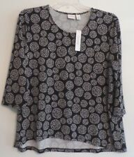 NWT!-WEEKENDS BY CHICO'S 3/4 SLEEVE HI LO TOP/TEE/TUNIC-SZ 3(L/XL)-BLACK/WHITE