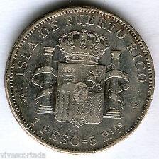 Alfonso XIII 1 Peso 1895 Puerto Rico @ Bonita @
