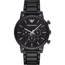 EMPORIO ARMANI Classic Black Dial Brushed Black Men's Watch AR1895