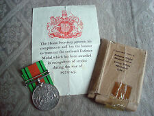 WWII Original Defence Medal with Ribbon, Box and Certificate