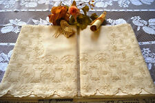 Pure linen sheet with embroidered flowers and hand shadow point