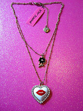Betsey Johnson Crystal Kiss Heart Necklace