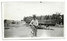 Vintage Hunting Snapshot Photo Armed Huntsman With His Dog