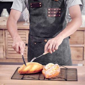 Waterproof Leather Waxed Canvas Denim Bib Apron Heavy Duty Work Garden BBQ Chef