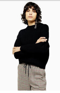 Topshop Relaxed Fit Knitted Jumper Black Size S