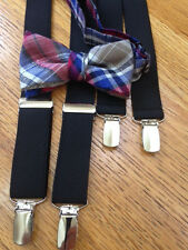 PRETEEN BOYS  LINEN PLAID BOW & BLACK SUSPENDERS - BRAND NEW! MADE IN THE USA