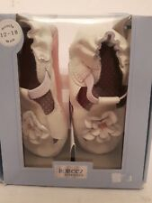 Robeez infant shoes leather soft soles 12-18m pretty pansy white new in box