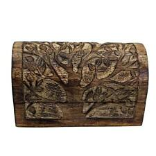Blooming Tree Dome Top Wooden Box Hand Carved Chest Hinged Trinket Jewelry Box