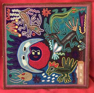 Huichol Tribe Vintage Yarn Painting ~ Shaman's Peyote Journey