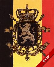 1915 WWI BELGIUM FLAG & CREST PROPAGANDA POSTER PAINTING REAL CANVASART PRINT