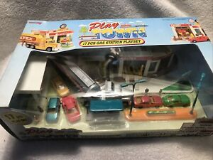 Vintage New Ray Play Town Caltex Oil Gas Station Play Set Trucks Cars Semi Town