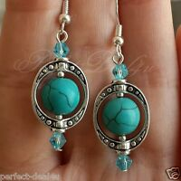Blue Turquoise Howlite & Crystals Round Dangle Earrings 925 Sterling Silver Hook