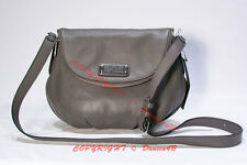 $368 MARC BY MARC JACOBS New Q Natasha Leather Crossbody Bag Aluminum Gray M