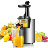 Slow Masticating Juicer Cold Press Juicer Extractor Stainless Steel w/ Brush NEW