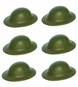 6 x WW2 Green Plastic Helmet Hats Air Raid Warden Army War Hat Fancy Dress Party