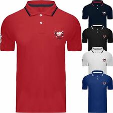 Mens Short Sleeve Plain Tipping Polo Shirt T Shirt Top Embossed Pony 100% Cotton