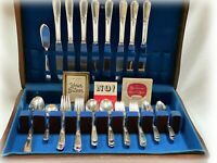 44 Pcs Holmes & Edwards Inlaid Youth Flatware Silverplate Service For 8 in Chest