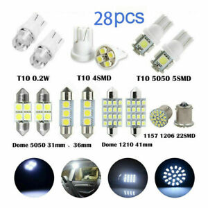 28 Pcs LED Interior Package Kit For T10 36mm Map Dome License Plate Lights White