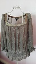 Ted Baker womens olive purple floral silk top blouse size 12/3