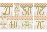 40 Birthday Party Napkins  (2  Packs of 20) Birthday Party Tableware PINK/GOLD