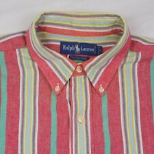 Vtg Ralph Lauren L/S,Button Up,Multi-Color Striped,The Big Shirt,Men's Sz Large