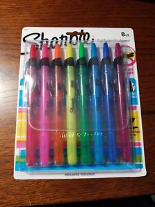 Sharpie Accent Retractable Highlighters Chisel Tip Assorted Colors 8Ct 28101 NEW