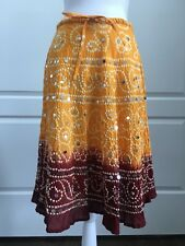 Nolita Skirt Large Multi Color Knee Length Drawstring A Line 100% Cotton