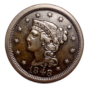 1848 Braided Hair Large Cent AU+ * Chocolate Colored