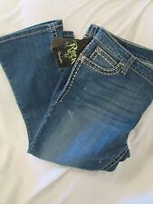 "Ladies ""Wrangler Rock 47"" Size 35x26, Blue, Ultra Low Rise, Distressed, Jeans"