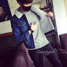 Men's Fleece Jacket Vintage Slim Fit Waistcoat Fur Lined Jean Jacket Denim Coat