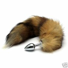 Funny Love Faux Fox Tail Butt Anal Stainless Steel Plug Sexy Romance Games Toy