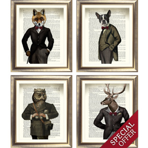 DICTIONARY ART PRINT on Antique Book Page FOX STAG DOG OWL Animal Steampunk Old