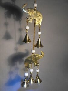 INDOOR WIND CHIMES ELEPHANTS BRASS BELLS MOBILE CHIME INDIAN BRASS BELL 34 CM