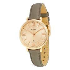 NEW FOSSIL JACQUELINE ROSE GOLD TONE,GRAY LEATHER BAND,ROMAN #S,WATCH ES3707