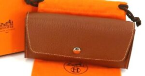 Authentic HERMES Brown Chevre Leather Eyeglass case France w/ box, dust bag